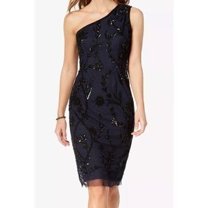 Adrianna Papell beaded floral mini formal dress